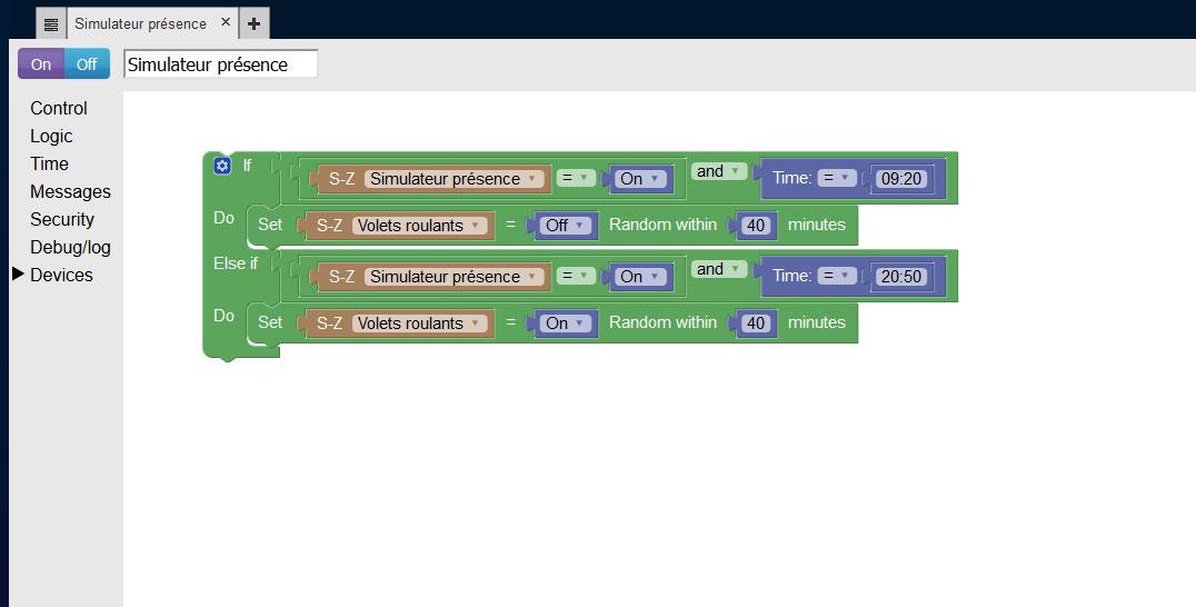 Script Blocky simulateur présence